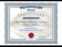 ALCON certifikát Centrum of Excellence